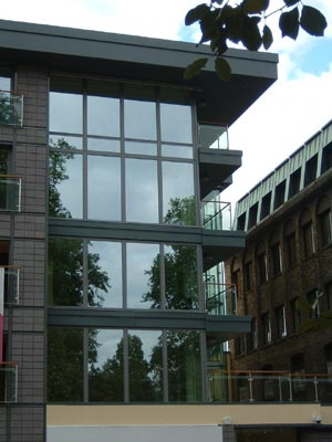 building with a curtain walling system