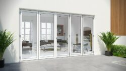 Alufold bifolding doors in white paint.